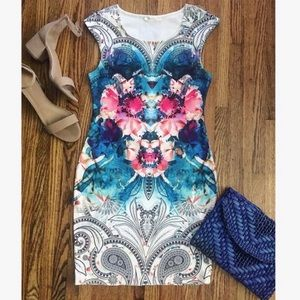 Watercolor Abstract Print Mini Bodycon Dress